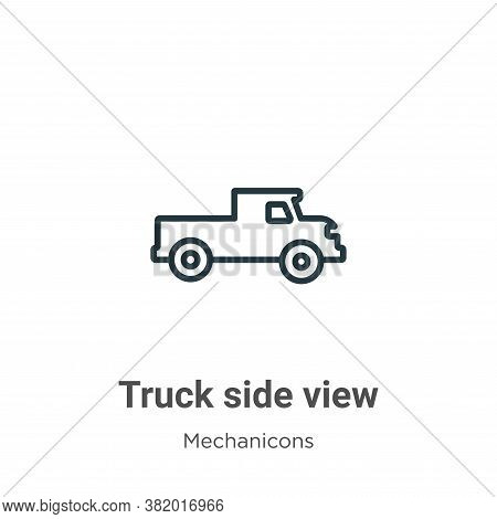 Truck side view icon isolated on white background from mechanicons collection. Truck side view icon