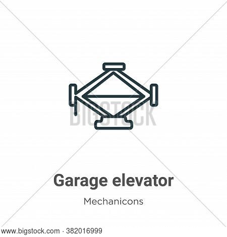 Garage elevator icon isolated on white background from mechanicons collection. Garage elevator icon
