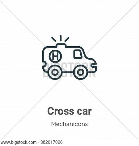 Red cross car icon isolated on white background from mechanicons collection. Red cross car icon tren