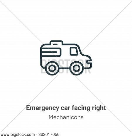 Emergency car facing right icon isolated on white background from mechanicons collection. Emergency