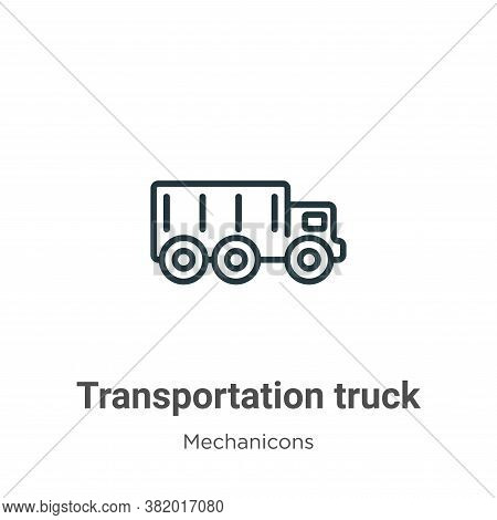 Transportation truck icon isolated on white background from mechanicons collection. Transportation t