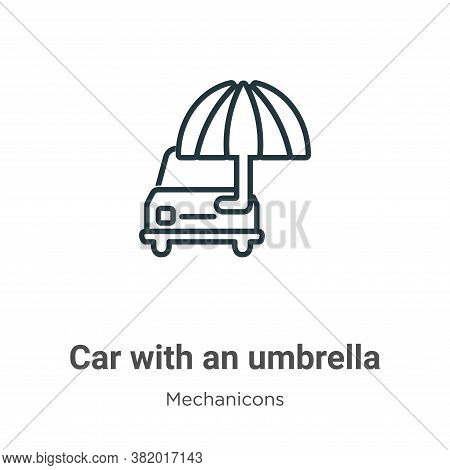 Car with an umbrella icon isolated on white background from mechanicons collection. Car with an umbr
