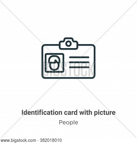 Identification card with picture icon isolated on white background from people collection. Identific