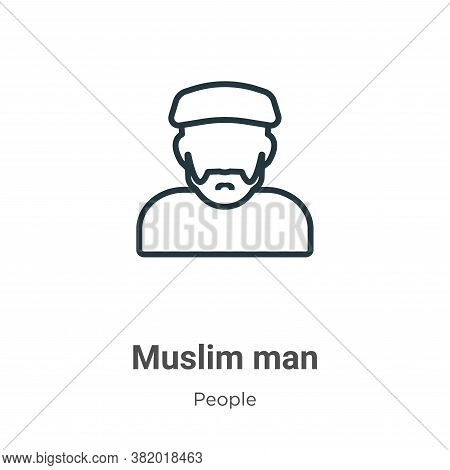 Muslim man icon isolated on white background from people collection. Muslim man icon trendy and mode