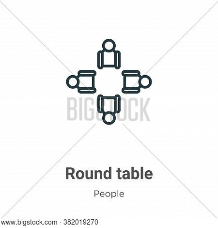 Round table icon isolated on white background from people collection. Round table icon trendy and mo