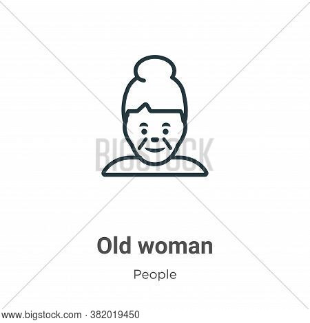 Old woman icon isolated on white background from people collection. Old woman icon trendy and modern