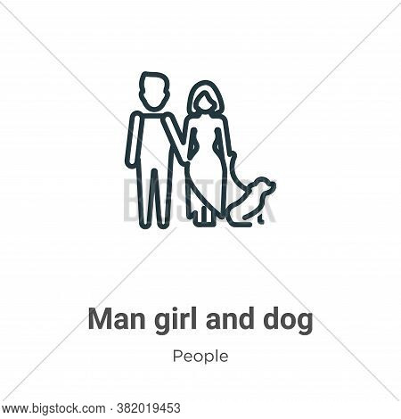 Man girl and dog icon isolated on white background from people collection. Man girl and dog icon tre