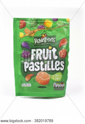 Swindon, Uk - August 22, 2020: Packet Of Nestle Rowntrees Fruit Pastilles On An Isolated Background