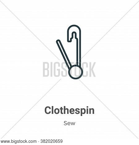 Clothespin icon isolated on white background from sew collection. Clothespin icon trendy and modern