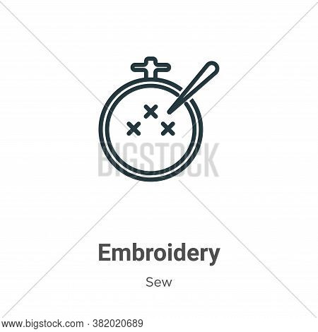 Embroidery icon isolated on white background from sew collection. Embroidery icon trendy and modern