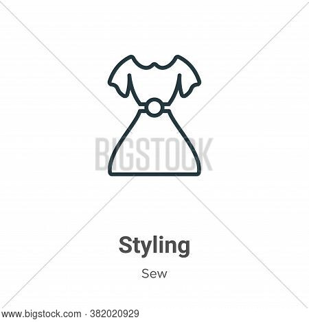 Styling icon isolated on white background from sew collection. Styling icon trendy and modern Stylin