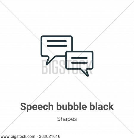 Speech bubble black icon isolated on white background from shapes collection. Speech bubble black ic