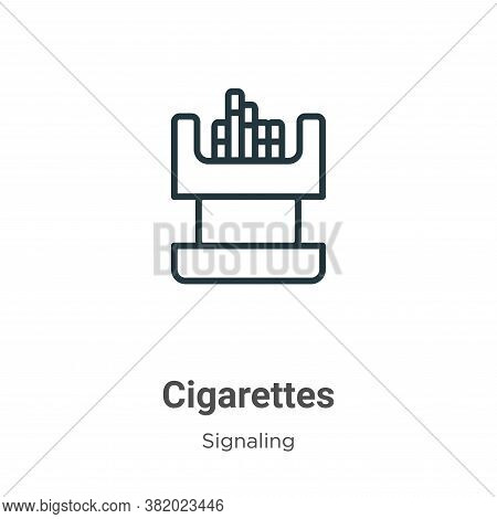 Cigarettes icon isolated on white background from signaling collection. Cigarettes icon trendy and m