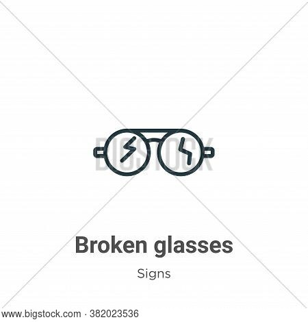 Broken glasses icon isolated on white background from signs collection. Broken glasses icon trendy a