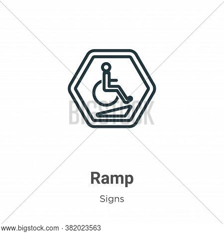 Ramp icon isolated on white background from signs collection. Ramp icon trendy and modern Ramp symbo