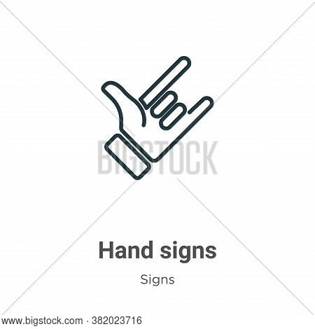 Hand signs icon isolated on white background from signs collection. Hand signs icon trendy and moder