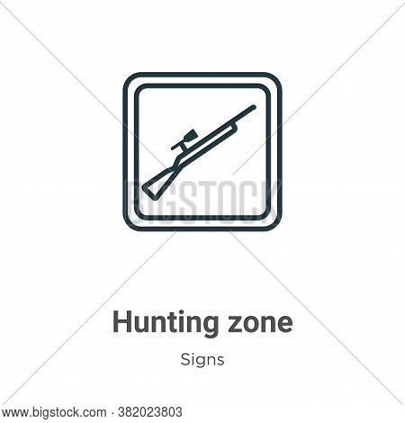 Hunting zone icon isolated on white background from signs collection. Hunting zone icon trendy and m
