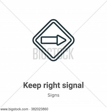 Keep right signal icon isolated on white background from signs collection. Keep right signal icon tr