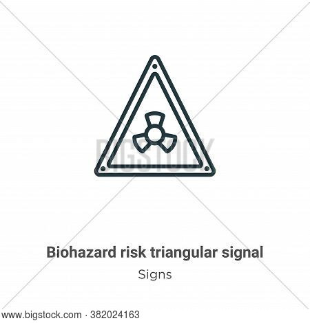 Biohazard risk triangular signal icon isolated on white background from signs collection. Biohazard