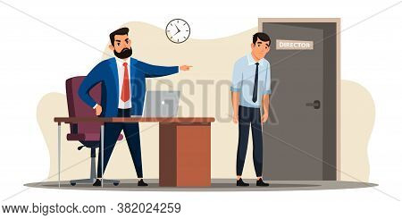Unemployment Concept. Angry Boss Dismisses Employee. Director Points Fired Manager At Door. Sad Man