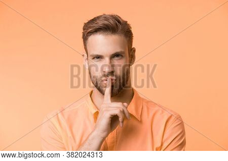 Can You Keep Secret. Handsome Man Keep Index Finger By His Lips. Be Silent. Secret Story Concept. Gu