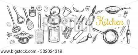 Cooking Classes And Kitchen Utensil Set. Vector Hand Drawn Isolated Objects. Icons In Sketch