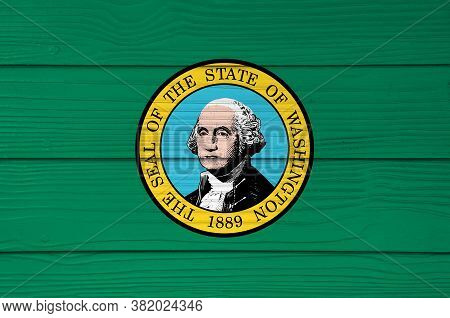 Illustration Of Washington Flag Color Painted On Fiber Cement Sheet Wall Background, The States Of A