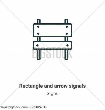 Rectangle and arrow signals icon isolated on white background from signs collection. Rectangle and a