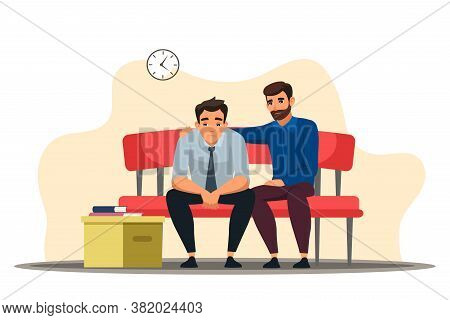 Unemployment Concept. Dismisses Employee Leaves Workplace At Office. Depressed Man Sits At Sofa, Col