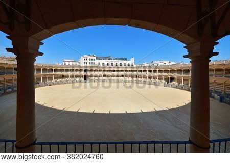Ronda Plaza de Toros bullring closeup view in Spain.
