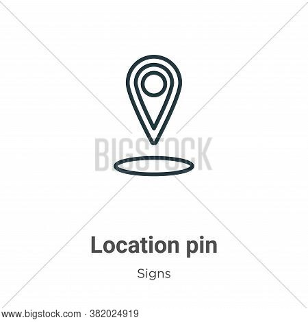Location pin icon isolated on white background from signs collection. Location pin icon trendy and m