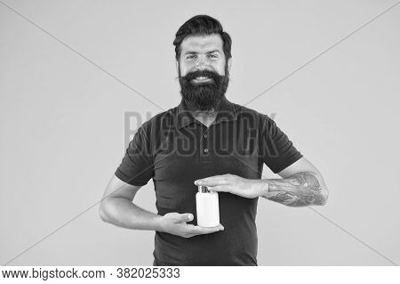 Vitamin Complex. Handsome Bearded Man Take Medication. Health Care. More Commonly Prescribed Antidep