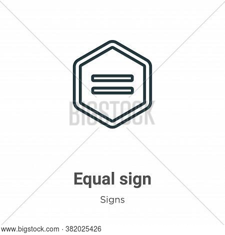 Equal sign icon isolated on white background from signs collection. Equal sign icon trendy and moder