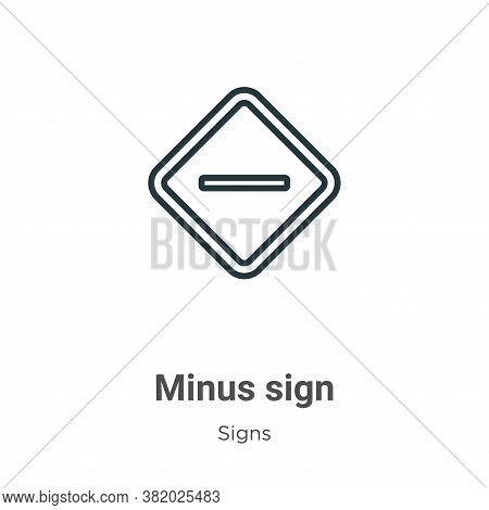 Minus sign icon isolated on white background from signs collection. Minus sign icon trendy and moder