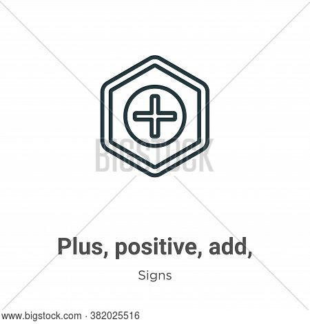 Plus, positive, add, symbol icon isolated on white background from signs collection. Plus, positive,