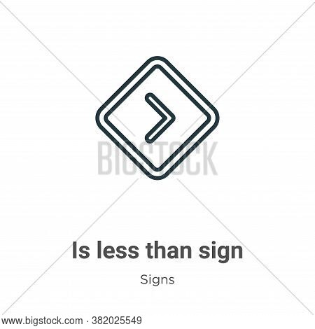 Is less than sign icon isolated on white background from signs collection. Is less than sign icon tr