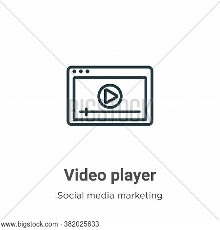 Video player icon isolated on white background from social media marketing collection. Video player