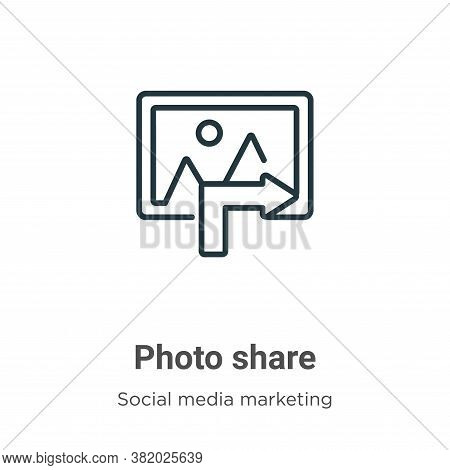 Photo share icon isolated on white background from social media marketing collection. Photo share ic