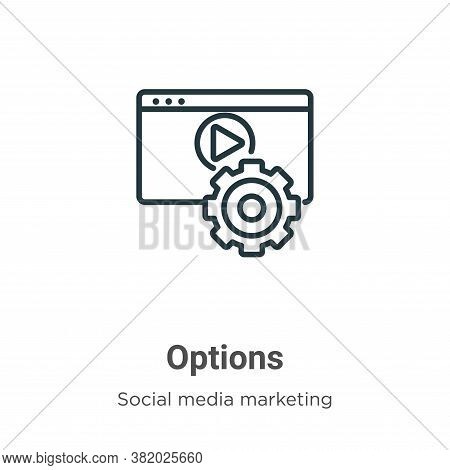 Options icon isolated on white background from social media marketing collection. Options icon trend