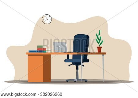 Office Interior Design. Table, Laptop Monitor, Books And Document Folder, Plant In Flowerpot, Comfor