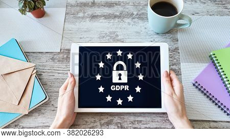Gdpr - General Data Protection Regulation Law. Business And Internet Concept On Screen.