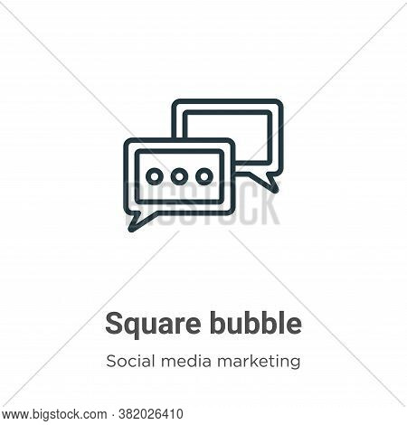 Square bubble icon isolated on white background from social collection. Square bubble icon trendy an