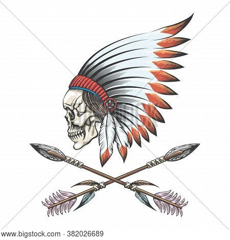 Human Skull Wearing Native American War Bonnet And Two Crossed Arrows Tattoo. Vector Illustration.