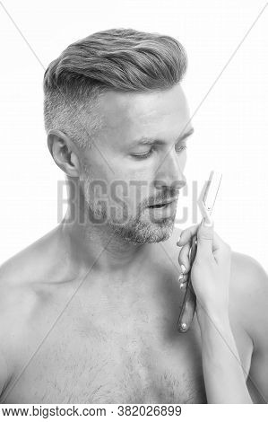 Shaving Accessory. Unshaven Man And Female Hand Holding Razor. Shaver For Barber. Beard Grooming And