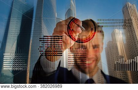 Man Interact Virtual Display Business Graphics. Create Crypto Currency Wallet. Mining Crypto Currenc