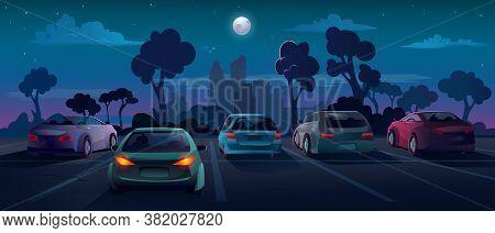 Cars At Parking Lot In Night City Street, Vector Background Flat Cartoon Illustration. Outdoor Parki