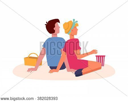 Couple Sitting On Picnic, Dating And Looking Forward From Back Behind, Vector Flat Isolated. Couple