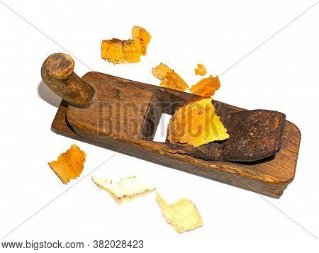 Carpentry Tool Wooden Plane On A White Background.