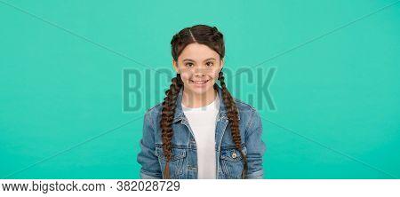 Salon Care For Your Hair. Happy Girl Wear Plaited Hairstyle. Hair Salon. Kids Barber. Beauty Salon.