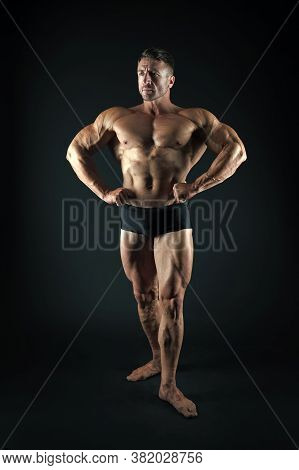 Satisfied With Result Of Trainings. Perfect Shape. Bodybuilder Concept. Bodybuilder Man Strong Body.